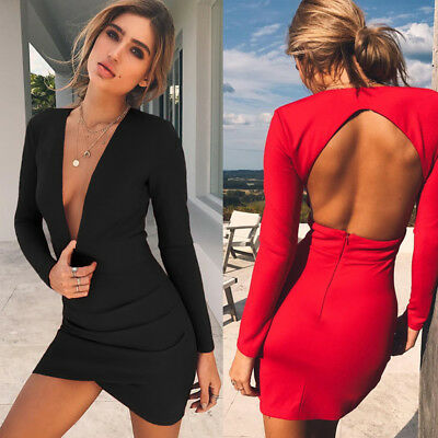 US STOCK Sexy Womens Long Sleeve Bandage Bodycon Party Cocktail Club Mini-Dress