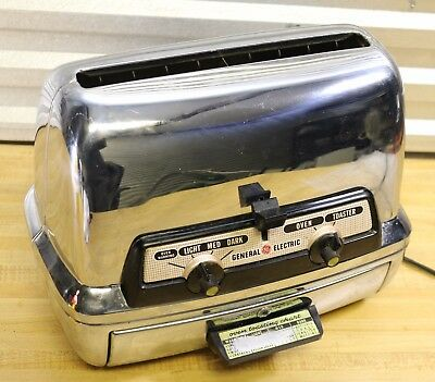 Vtg 1950s GE General Electric Chrome Toaster Oven 45T83.