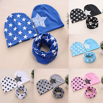 Cotton Stars Hat Printed 2 Pcs Caps+Scarf Warp For Baby Toddler Kids Boys Girls