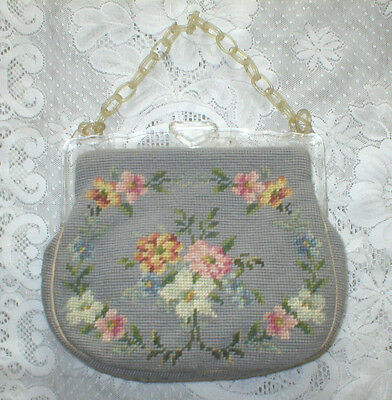 Vintage Wool Needlepoint Purse Handbag Lucite Handle 1950s Blue Floral