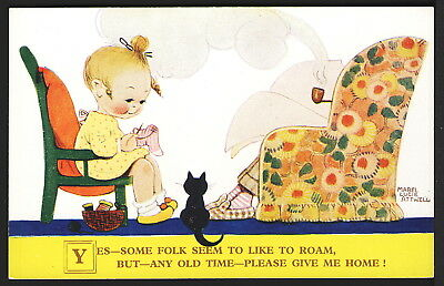Signed Mabel Lucie Attwell 1930 Valentine #1806 Children & Black Cat at Home
