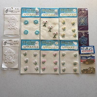 Vintage Embroidery Appliques Assorted Lot of 36 pieces - New in Packages c.1963