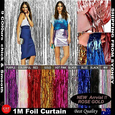 Metallic Tinsel Curtain Foil 1m Backdrop Pom Poms Streamers Hens Party Decor
