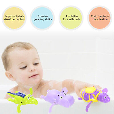 US 3pcs Pool Wind Up Bath Toys Animals Turtle Hippo Crocodile Swimming Tub Bath