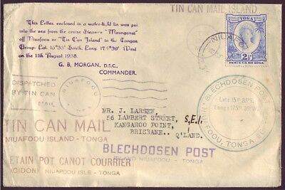 TONGA • 1938 Tin Can Canoe Mail Cover to AUSTRALIA • Blechdosen Post