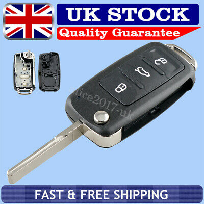 For VW GOLF MK6 POLO JETTA CADDY BEETLE Remote Flip Key Fob Case 3 Button