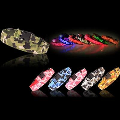 USB Rechargeable LED Lights Dogs Collars Camouflage Luminous with Lights Collars