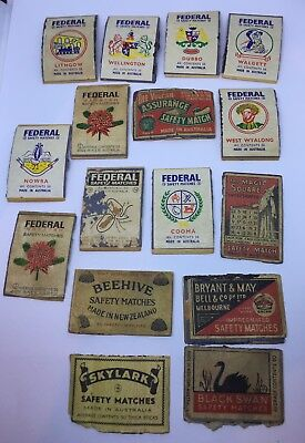Vintage Australian matchbox labels Federal Brand  And Other matches