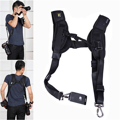 Quick Double 2 Dual Two Camera Shoulder Strap Sling Belt for Canon Nikon DSLR