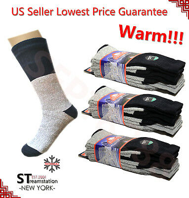 3,12 Pairs Men's Super Warm Sox Heavy Thermal Double Insulated Winter Socks T2