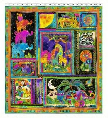 Mythical Jungle Metallic  Quilt Panel * New *  Laurel Burch * Free Post *