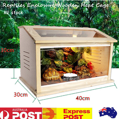 Wooden Reptiles Enclosure Heating Cage Lizard Frog Snake Turtle Tank with Fittin