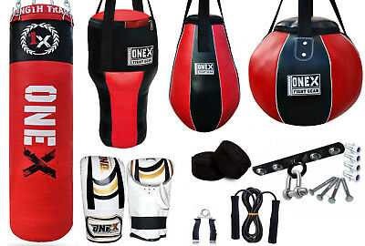 ONEX Kids Boxing Set Filled 40cm Punch Bag Gloves Hanging Junior Children Mitts
