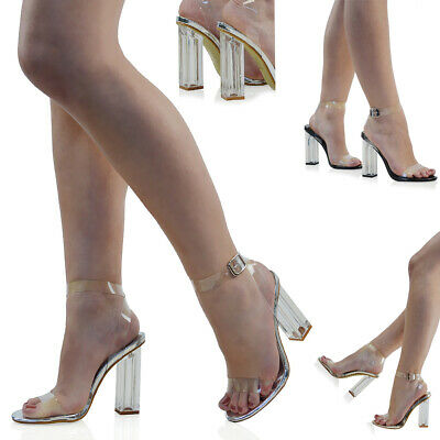 Womens Clear High Heel Ankle Strap Sandals Ladies Perspex Block Heel Party Shoes