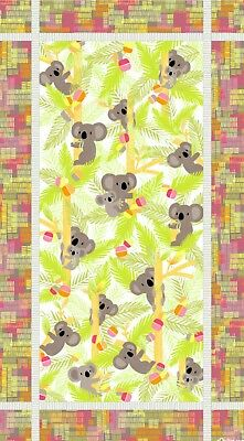 Koala Baby Quilt Panel * Treetop Snuggles * New * Pink * Free Post *
