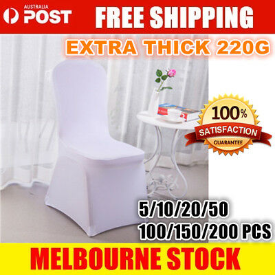 1-200 White Chair Covers Full Seat Cover Spandex Lycra Stretch Banquet Wedding D