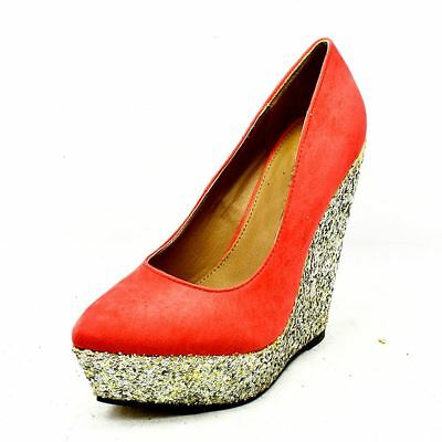 Coral Suedette wedge court shoes with gold glitter heel