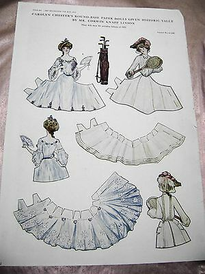 ANTIQUE VTG PAPER DOLLS 1910s  DELINEATOR CAROLYN CHESTER HISTORIC VALUE SERIES