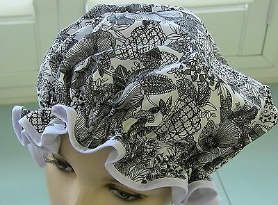 SHOWER CAP HAT   HANDMADE, WATERPROOF black & white abstract floral Cotton
