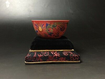 """Rare Chinese porcelain famille-rose fishes design cup with """"Chenghua"""" marked"""