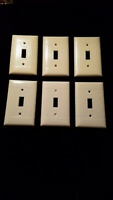 Vintage Switch Plate Covers Ribbed Cream Art Deco  Bakelite Set of 6