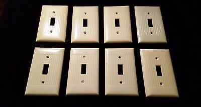 Vintage Switch Plate Covers Ribbed Cream Art Deco  Bakelite Set of 8