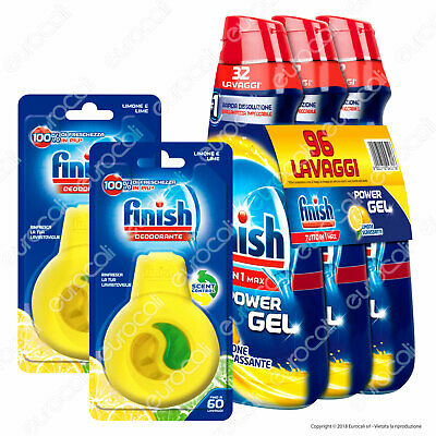 2x Finish Deo Limone + Finish Powergel Limone Sgrassante 3x 650 ml
