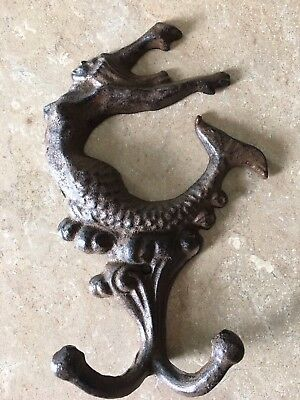 Cast Iron MERMAID Towel Hanger Coat Hooks Hat Hook, Key Rack, Double Hook