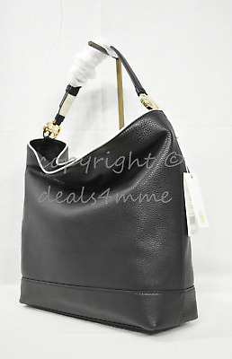 NWT Tory Burch Duet Leather Hobo / Shoulder Bag in Black/ New Ivory  $450