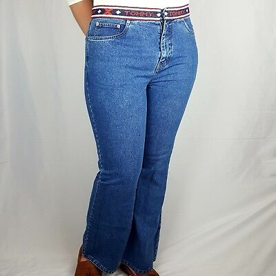 Tommy Hilfiger Authentic Size 14 Rare Beaded Waistband 90's Blue Mom Jeans