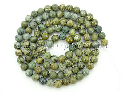 Natural Green Bre Jasper Gemstone Round Spacer Beads 16'' 4mm 6mm 8mm 10mm 12mm