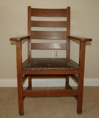 Antique Stickley And Company Oak Arm Chair With Original Leather Seat