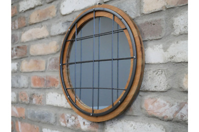 Aged look Wall Mount French Country Window Mirror Working Shutters Wood Metal