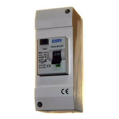 TIME DELAY 80 AMP 100mA RCD TRIP SAFETY SWITCH IN 2 WAY ENCLOSURE / DOUBLE POLE