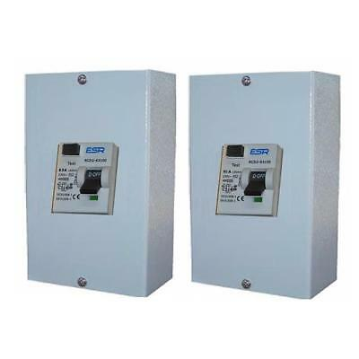 63A 80A 30mA 100mA RCD TRIP SAFETY SWITCH IN 2 WAY METAL ENCLOSURE / DOUBLE POLE