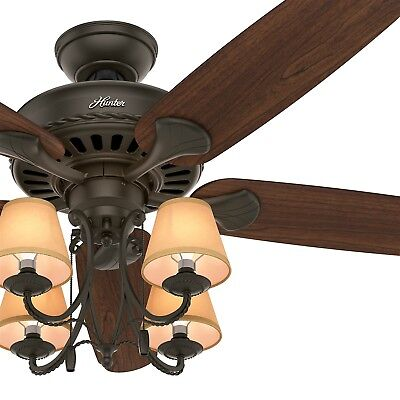 """54"""" Hunter Traditional Ceiling Fan with Light and Canvas Shades in New Bronze"""