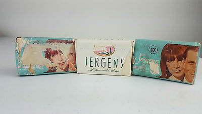 Mixed Lot of 3 Vintage Jergens Deodorant and Lotion Bar Soaps 1970s 10 Cents