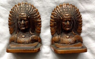Antique Pair of Cast Iron Copper Finish Feather Native American Bookends