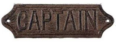 Rusty Brown Cast Iron Captain Plaque Old World style Nautical Free shipping