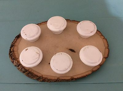 358 VTG Large Wooden Knobs In A Shabby Chic White Set Of 6