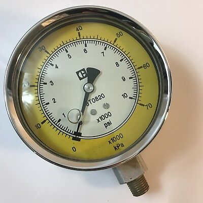 "Vtg Brass Cat Caterpillar 8T0820 kPa Pressure Gage Gauge 10000psi 4"" Dia"