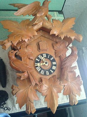 """Antique Black Forest Cuckoo Birds Leaves Clock Germany 16.5"""""""