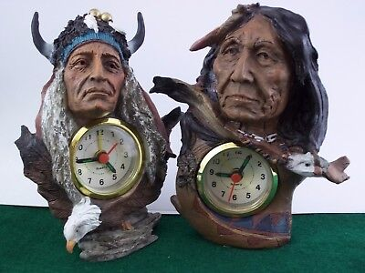 PAIR of Native American Indian Bald Eagle Small Desk Clock With Alarm New in Box