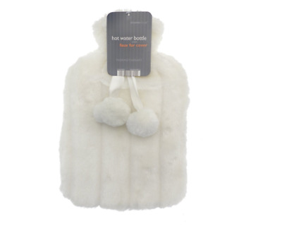 Hot Water Bottle with Luxury Faux Fur & Pom Poms by Country Club 2 Litre Ivory