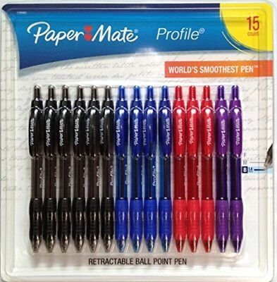 Paper Mate Profile Retractable Ballpoint Pens 15 Count Assorted