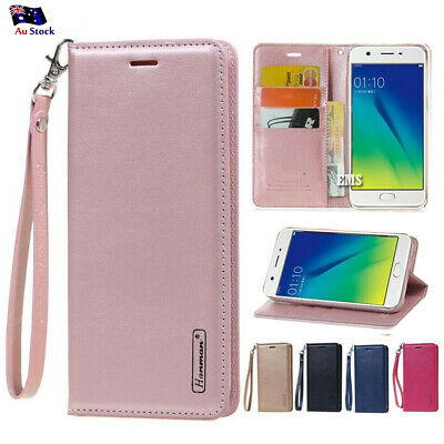 Hanman Wallet Leather Flip PU Case Cover For Oppo A57 A73 A3S AX5 R15 R17 Pro