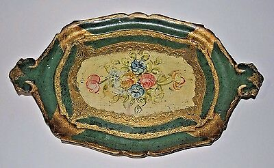 Vintage FLORENTIA Wood Tray #1673 Hand-Painted Made in Italy Gilded Ornate
