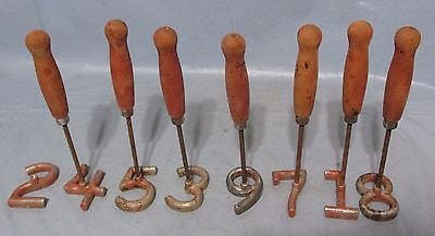 """8 Piece 2.5"""" Freeze Branding Irons Numbers 1-9 Cattle Identification Western"""