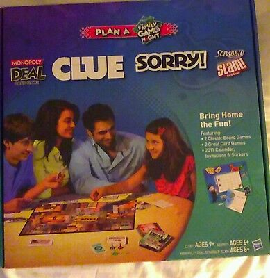 Hasbro Plan Family Game Night Monopoly Deal Sorry Clue Scrabble Slam 2011 sealeD
