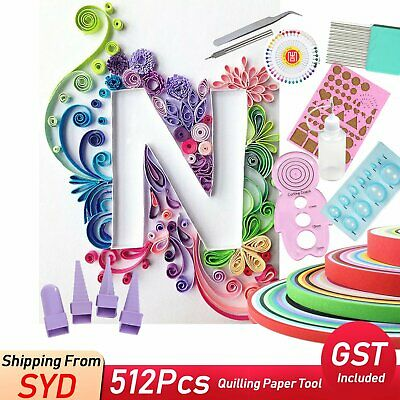 512Pcs Strips Quilling Paper Tool Set Mixed DIY Craft Kits Kid Toy Scrapbook AU